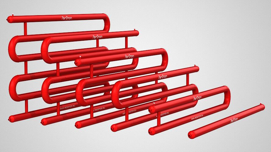 Змеевиковые регистры отопления из гладких труб диаметром 108 мм — стандартные исполнения, от 1 до 6 рядов, эллиптические заглушки