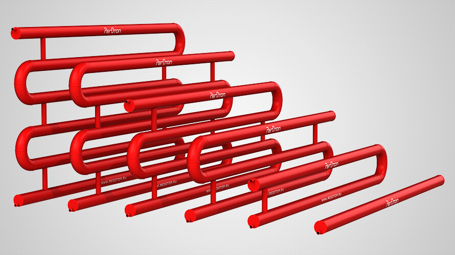 Линейка змеевиковых регистров отопления из гладких труб диаметром 108 мм с плоскими заглушками