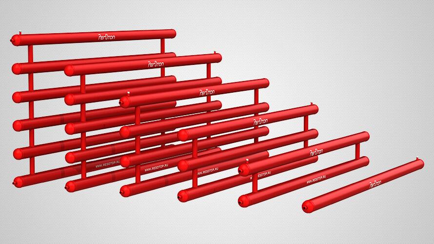 Ассортимент регистров из труб диаметром 108 миллиметров: секционная конструкция, эллиптические зглушки, от 1 до 6 рядов